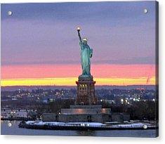 Statue Of Liberty At Sunset Acrylic Print by Mircea Veleanu