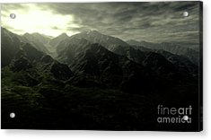 Terragen Render Of Mt. Whitney Acrylic Print by Rhys Taylor