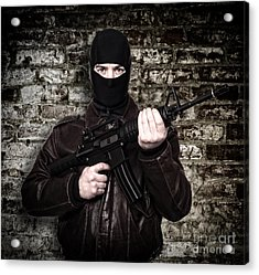 Terrorist Portrait Acrylic Print by Gualtiero Boffi