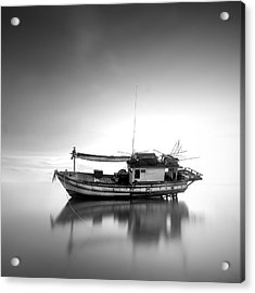 Thai Fishing Boat Acrylic Print by Teerapat Pattanasoponpong
