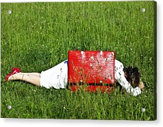The Red Suitcase Acrylic Print by Joana Kruse