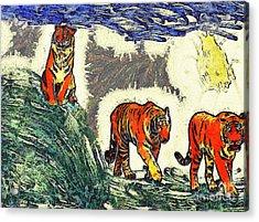 The Tigers Acrylic Print by Odon Czintos