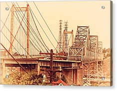 The Two Carquinez Bridges At Crockett And Vallejo California . Aka Alfred Zampa Memorial Bridge . 7d8919 Acrylic Print by Wingsdomain Art and Photography