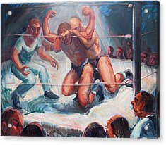 The Wrestling Match In Color Acrylic Print by Bill Joseph  Markowski