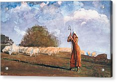 The Young Shepherdess Acrylic Print by Winslow Homer