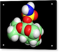 Topiramate Molecule, Anti-epilepsy Drug Acrylic Print by Dr Tim Evans