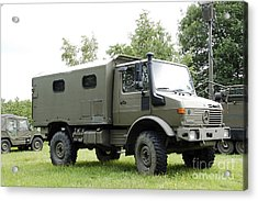 Unimog Truck Of The Belgian Army Acrylic Print by Luc De Jaeger