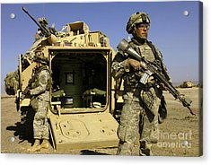 U.s. Army Soldiers Provide Security Acrylic Print by Stocktrek Images