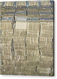 Us Cash Bundles Acrylic Print by Adam Crowley