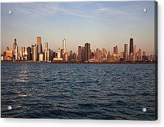 Usa, Illinois, Chicago, City Skyline Over Lake Michigan Acrylic Print by Henryk Sadura