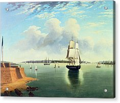 View Of New York From Bedloes Island Acrylic Print by Joseph B Pringle