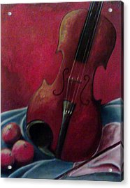 Violin With Apples Acrylic Print by Melissa Cruz