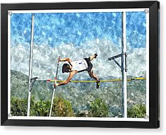Watercolor Design Of Pole Vault Jump Acrylic Print by John Vito Figorito
