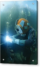 Welding Underwater Acrylic Print by Alexis Rosenfeld