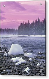 Winter Sunset On Bow River, Banff Acrylic Print by Darwin Wiggett