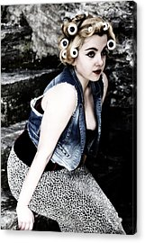 Woman With Curlers Acrylic Print by Joana Kruse