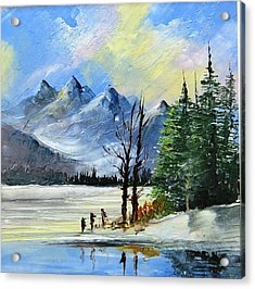 1130b Mountain Lake Scene Acrylic Print by Wilma Manhardt