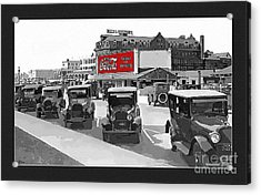 1924 Vintage Automobiles Parked At Atlantic City Acrylic Print by Anne Kitzman