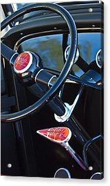 1932 Hot Rod Lincoln V12 Steering Wheel Emblem Acrylic Print by Jill Reger