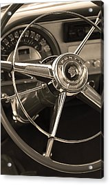 1953 Pontiac Steering Wheel - Sepia Acrylic Print by Jill Reger