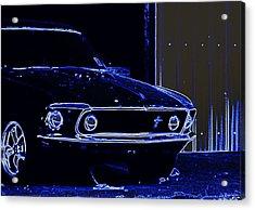 1969 Mustang In Neon Acrylic Print by Susan Bordelon