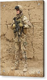 A German Army Soldier Armed With A M4 Acrylic Print by Terry Moore