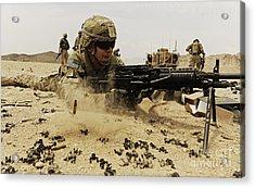 A Soldier Firing His Mk-48 Machine Gun Acrylic Print by Stocktrek Images