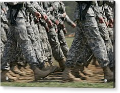 Army Rangers Marching In Formation Acrylic Print by Skip Brown