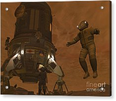Artists Concept Of Astronauts Exploring Acrylic Print by Walter Myers
