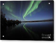 Aurora Borealis Over Long Lake Acrylic Print by Jiri Hermann