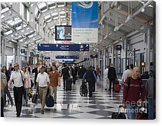 Busy Airport Terminal Concourse At Chicago's O'hare Airport Acrylic Print by Christopher Purcell