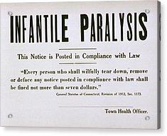 Early 20th Century Quarantine Sign Acrylic Print by Everett