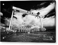 Giant Harland And Wolff Crane Goliath At Shipyard Titanic Quarter Queens Island Belfast Acrylic Print by Joe Fox