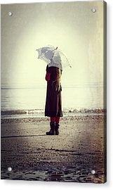 Girl On The Beach With Parasol Acrylic Print by Joana Kruse