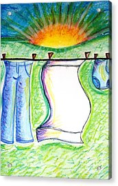 Laundry Day Acrylic Print by Susan George