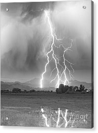 Lightning Striking Longs Peak Foothills 6 Acrylic Print by James BO  Insogna