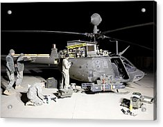 Maintenance Crew Works On Servicing Acrylic Print by Terry Moore