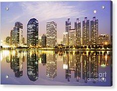 Night Scenes Of City Acrylic Print by Setsiri Silapasuwanchai