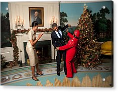 President And Michelle Obama Greet Acrylic Print by Everett