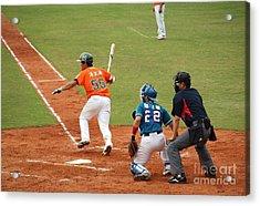 Professional Baseball Game In Taiwan Acrylic Print by Yali Shi