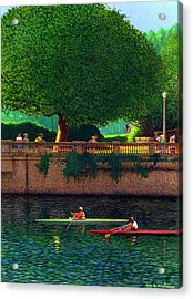 Scullers At Coal Harbour Acrylic Print by Neil Woodward