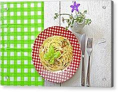Spaghetti Al Pesto Acrylic Print by Joana Kruse
