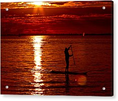 Sunset Silhouette Acrylic Print by Barbara  White