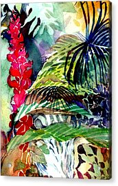 Tropical Waterfall Acrylic Print by Mindy Newman