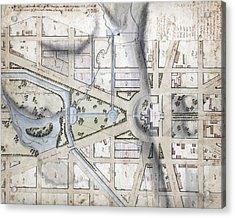 Washington, D.c. Map Showing Acrylic Print by Everett
