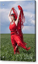Woman In Red Series Acrylic Print by Cindy Singleton