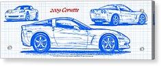 2009 C6 Corvette Blueprint Acrylic Print by K Scott Teeters