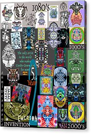25th Anniversary Collector's Poster By Upside Down Artist And Inventor L R Emerson II Acrylic Print by L R Emerson II