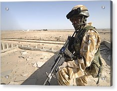 A British Army Soldier Provides Acrylic Print by Andrew Chittock