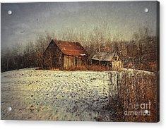 Abandoned Barn With Snow Falling Acrylic Print by Sandra Cunningham